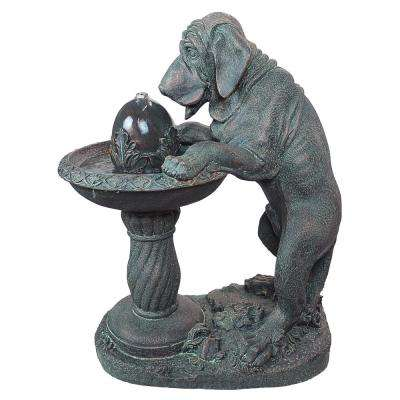 Dog's Refreshing Drink Stone Bonded Resin Sculptural Fountain