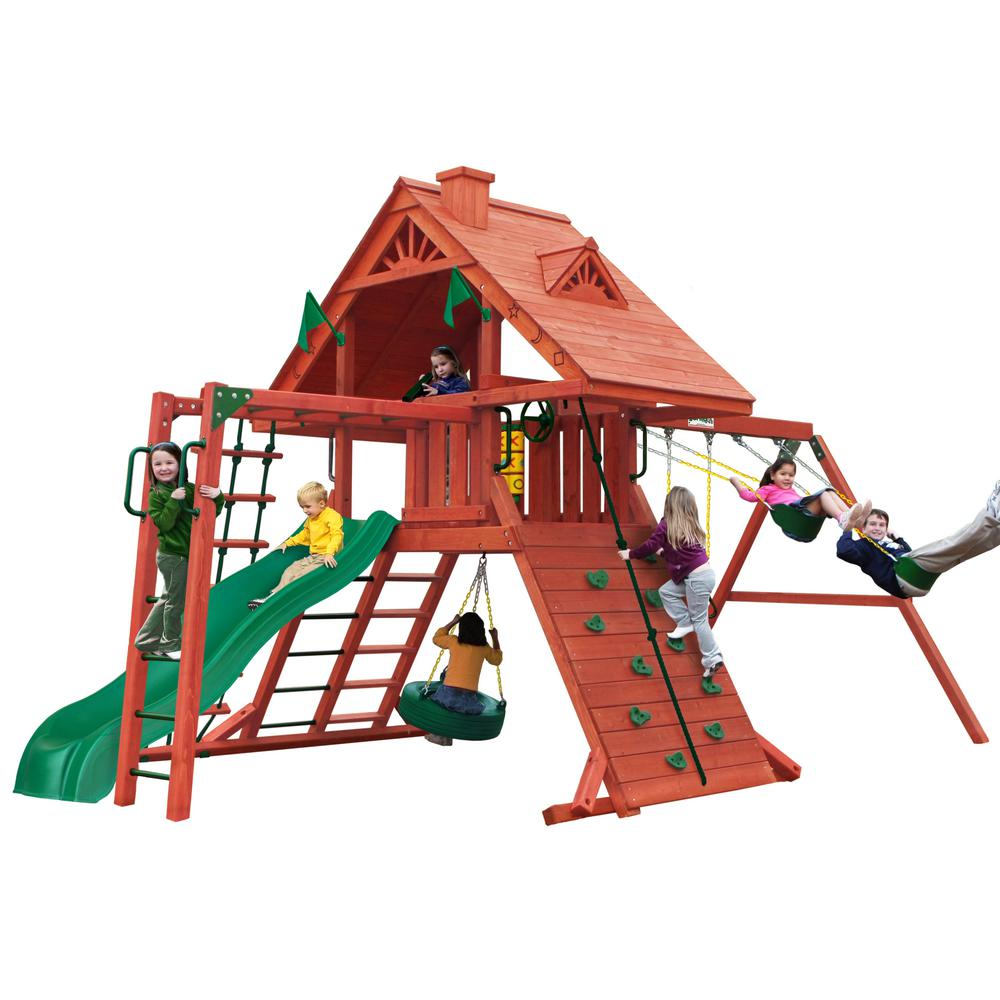 Gorilla Playsets Sun Palace II Wooden Playset with Monkey Bars