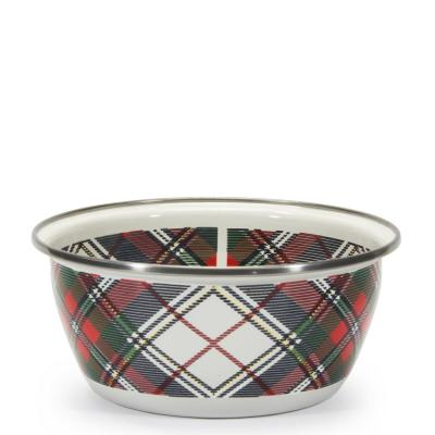 Highland Plaid 3-cup Enamelware Salad Bowl