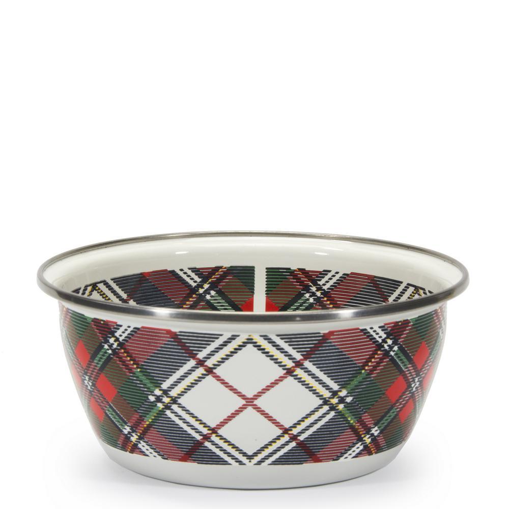 Highland Plaid 3-cup Enamelware Salad Bowl
