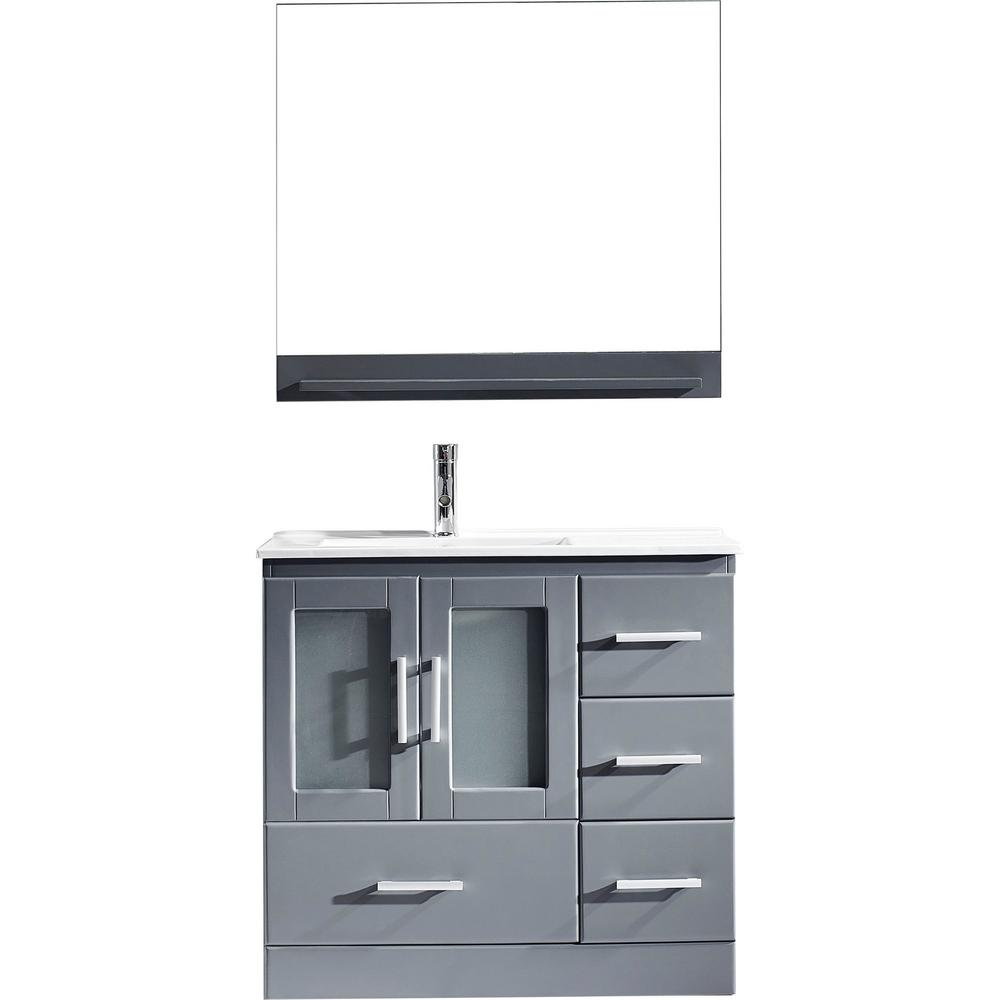 Virtu USA Zola 36 in. W Bath Vanity in Gray with Ceramic Vanity Top in Slim White Ceramic with Square Basin and Mirror and Faucet
