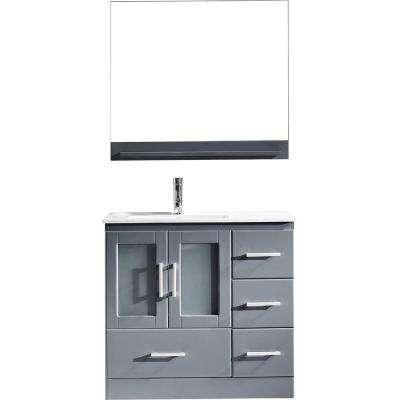 Zola 36 in. W Bath Vanity in Gray with Ceramic Vanity Top in Slim White Ceramic with Square Basin and Mirror and Faucet