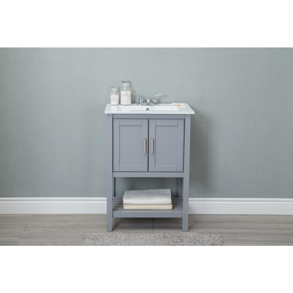 24 in. W x 33 in H Vanity in Gray with Ceramic Top in White with ...