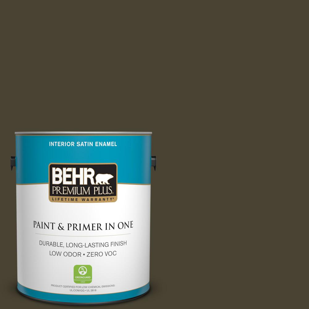 1 gal. #PPU5-01 Espresso Beans Zero VOC Satin Enamel Interior Paint