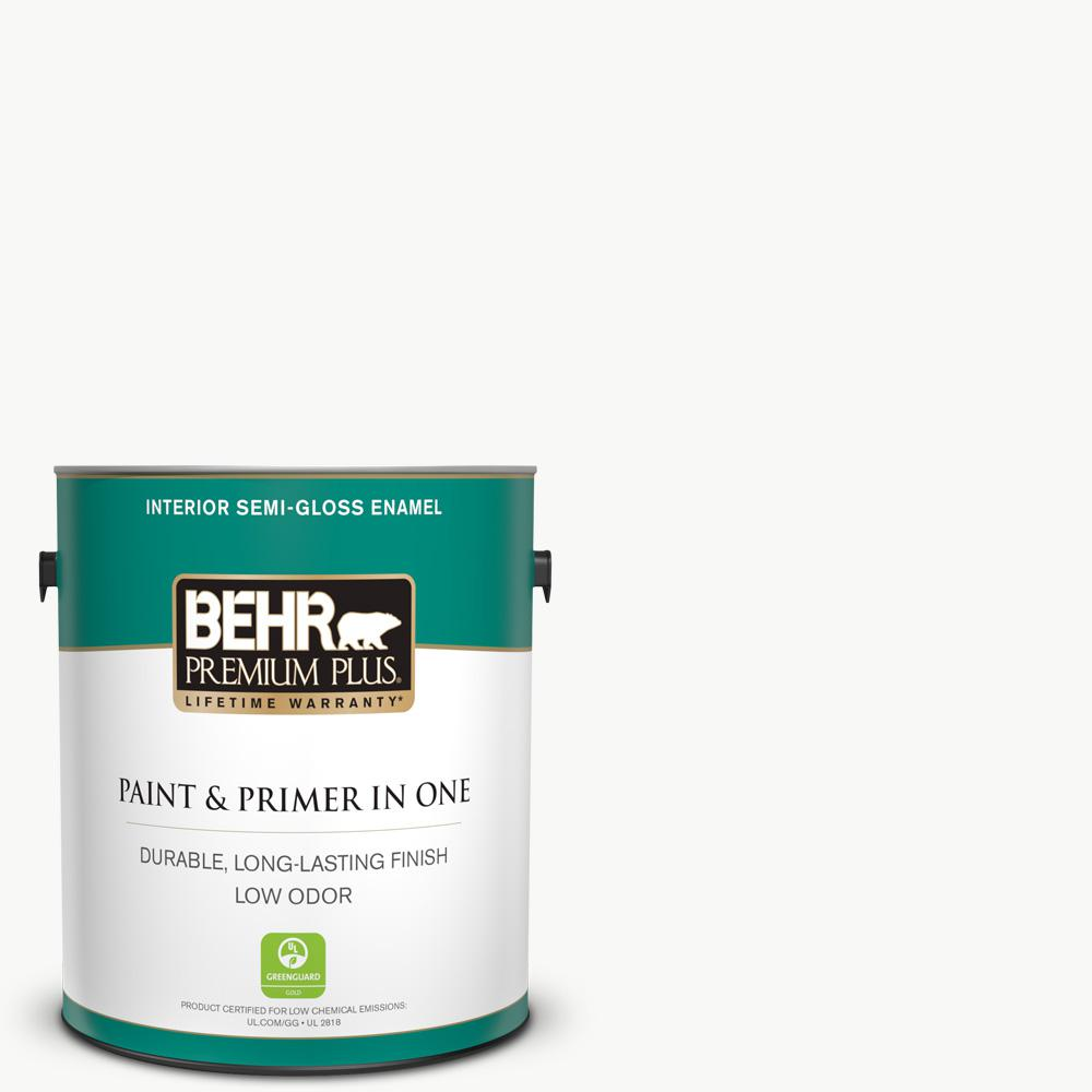 Behr Premium Plus 1 Gal Ultra Pure White Semi Gloss Enamel Low Odor Interior Paint And Primer In One