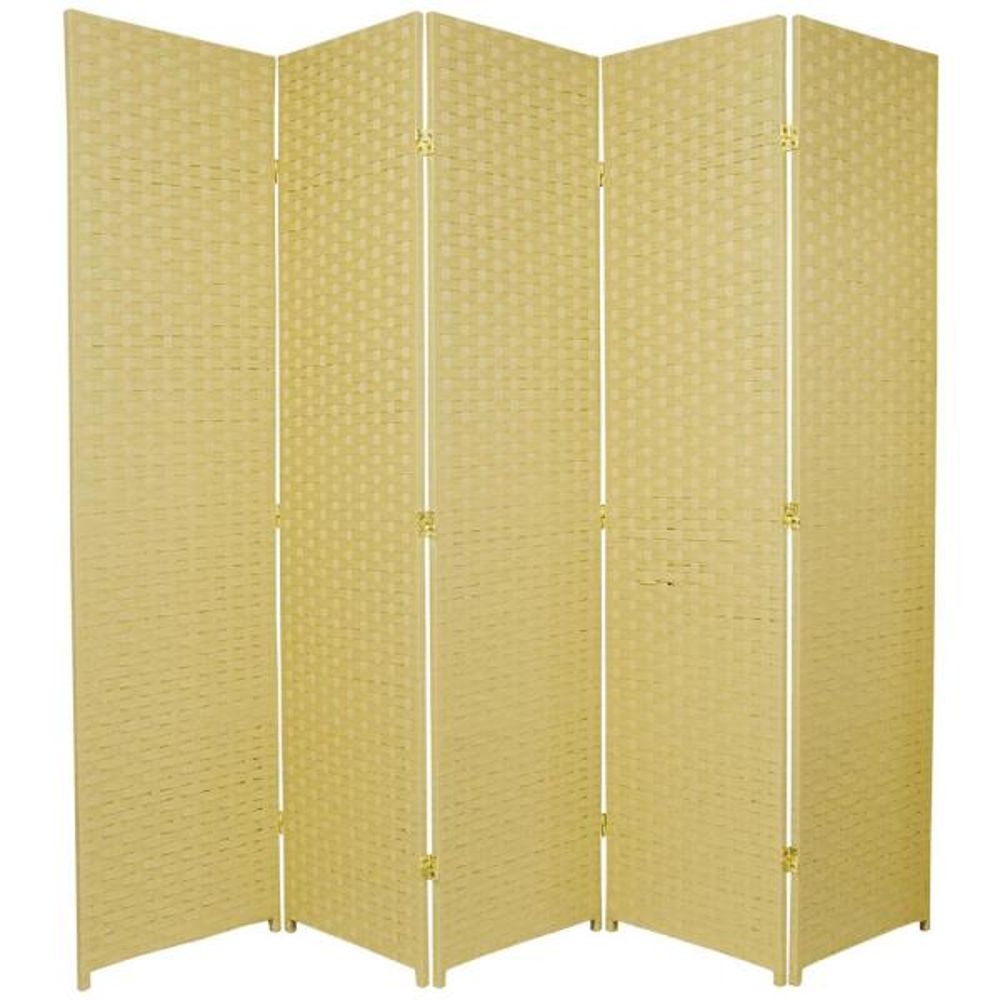 Oriental Furniture 6 ft. Dark Beige 5-Panel Room Divider SSFIBER-5P-DBG