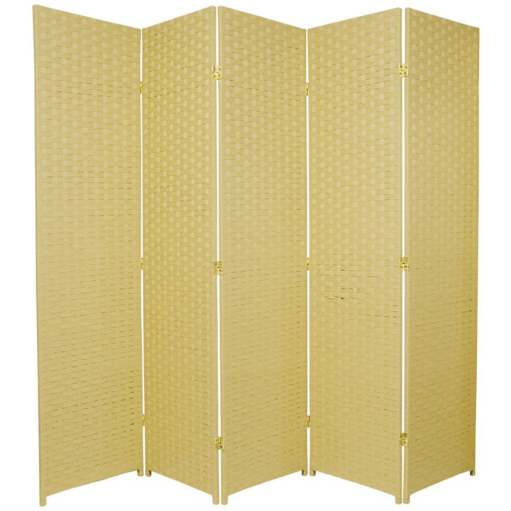 Oriental Unlimited 6 ft. Dark Beige 5-Panel Room Divider