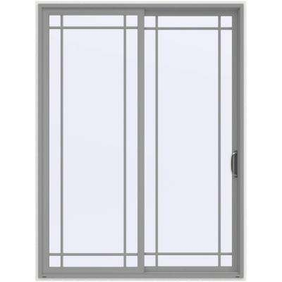 72 in. x 96 in. V-4500 Contemporary Silver Painted Vinyl Right-Hand 9 Lite Sliding Patio Door w/White Interior