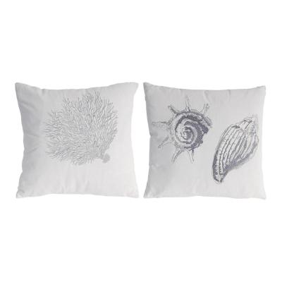 Seashell Pillows White, Silver 18 in. x 18 in. Throw Pillow - Set of 2