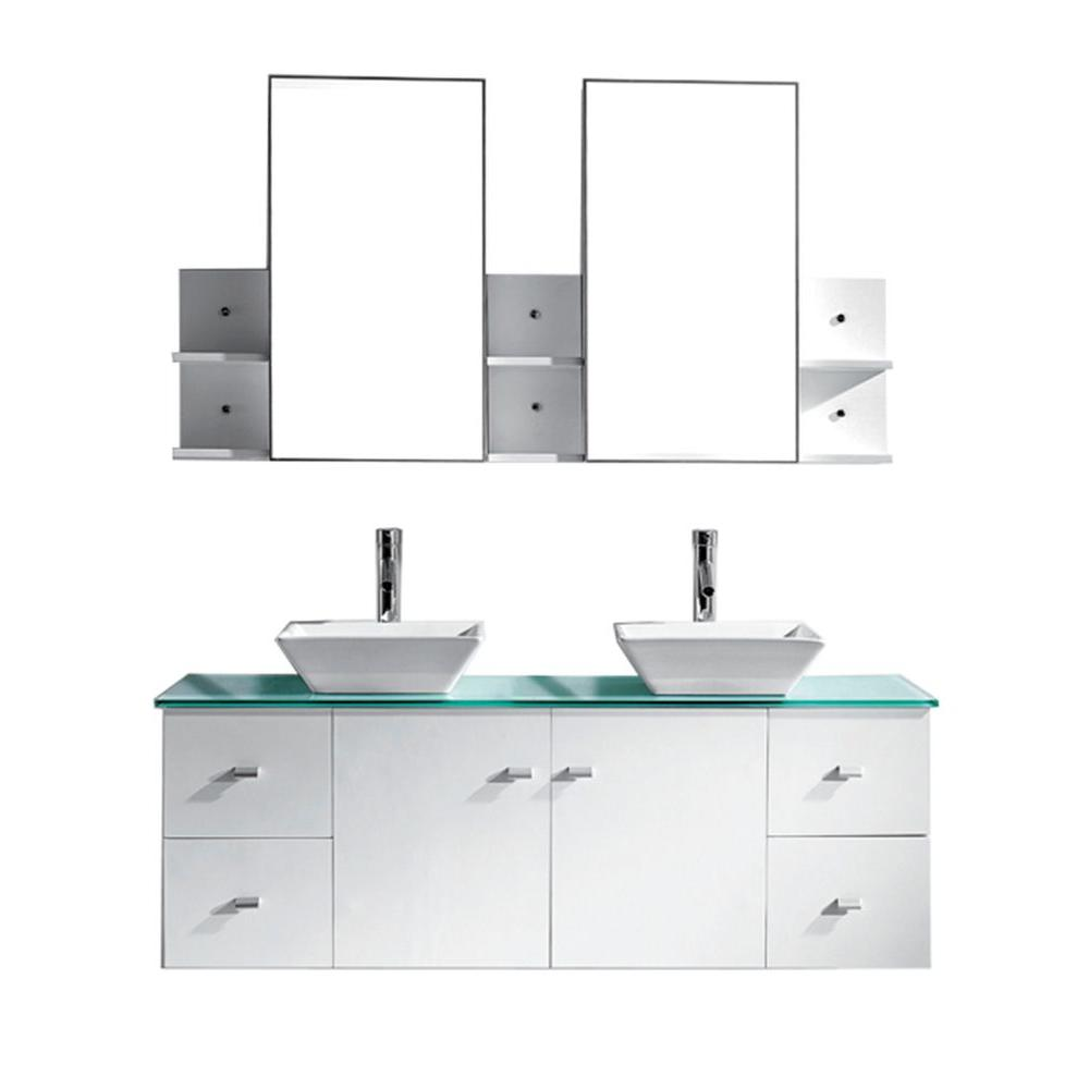 Virtu USA Clarissa 60 in. W Bath Vanity in White with Glass Vanity Top in Aqua with Square Basin and Mirror and Faucet