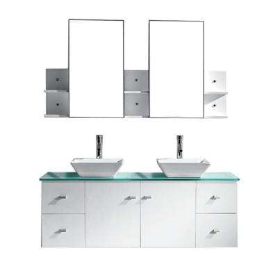 Clarissa 60 in. W Bath Vanity in White with Glass Vanity Top in Aqua with Square Basin and Mirror and Faucet