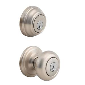 Juno Satin Nickel Exterior Entry Door Knob and Single Cylinder Deadbolt Combo Pack Featuring SmartKey Security