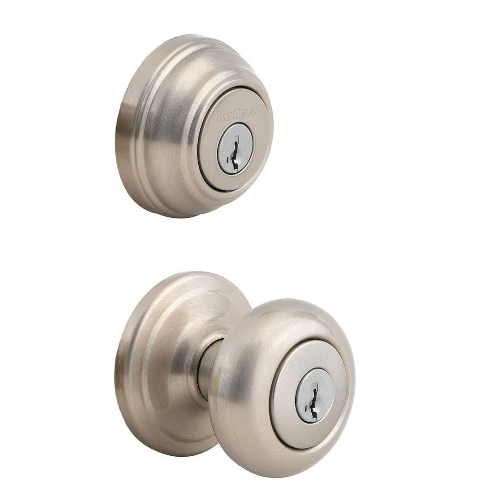 Kwikset juno satin nickel exterior entry door knob and single cylinder deadbolt combo pack Home depot cabinet door knobs