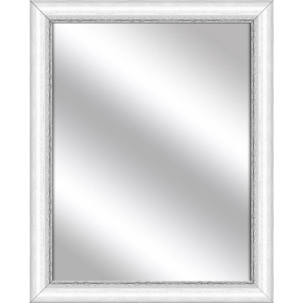 Medium Rectangle White Art Deco Mirror (30.75 in. H x 24.75 in. W)