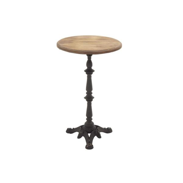 Litton Lane Natural Brown Round Accent Table With Black Pedestal Stand And Ornate Base