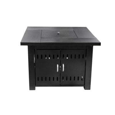 38 in. x 28 in. Square Aluminum Propane Fire Pit with Cover