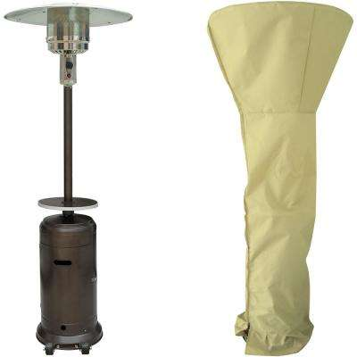 7 ft. 41,000 BTU Hammered Bronze Steel Umbrella Propane Patio Heater with Weather-Protective Cover