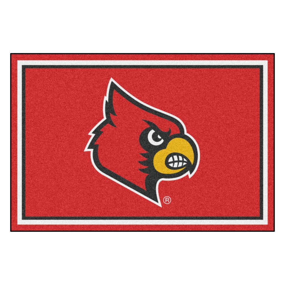 FANMATS NCAA - University of Louisville Red 8 ft. x 5 ft. Indoor Area Rug