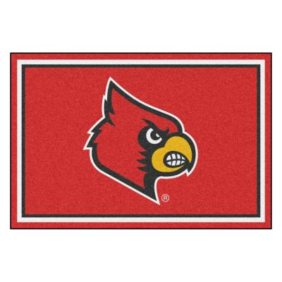 NCAA - University of Louisville Red 8 ft. x 5 ft. Indoor Area Rug