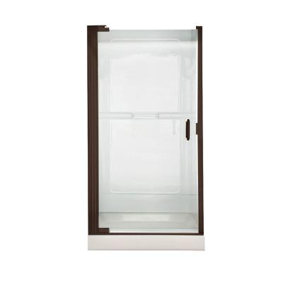 Euro 36 in. x 65 in. Semi-Frameless Continuous Hinged Pivot Shower Door in Oil Rubbed Bronze with Clear Glass