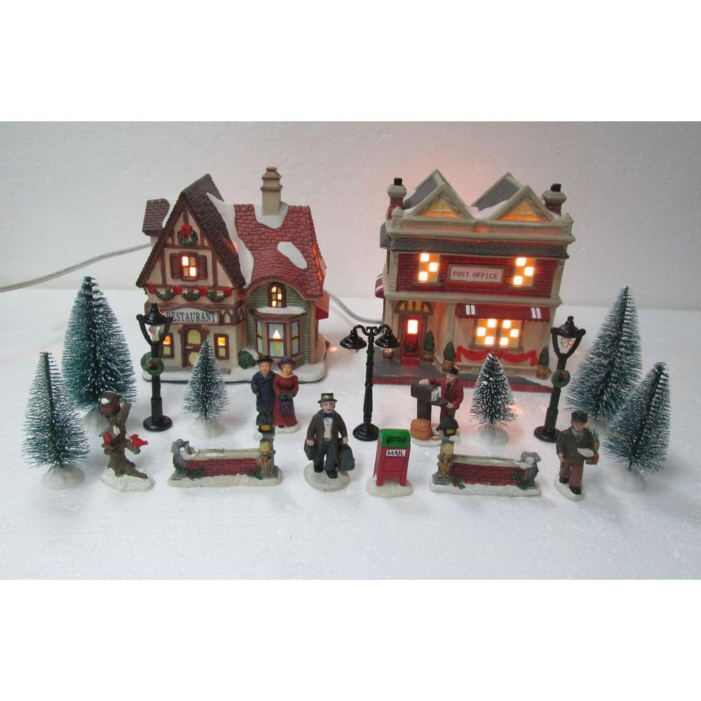 home accents holiday 598 in h christmas village set school - Christmas Town Decorations