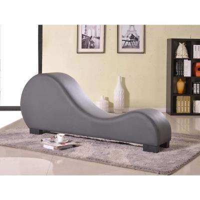 grey faux leather chaise lounge