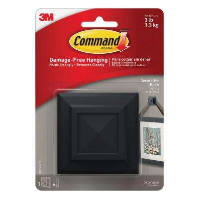 Slate Square Picture Hanging Knob (1-Knob) (4-Adhesive Strips)