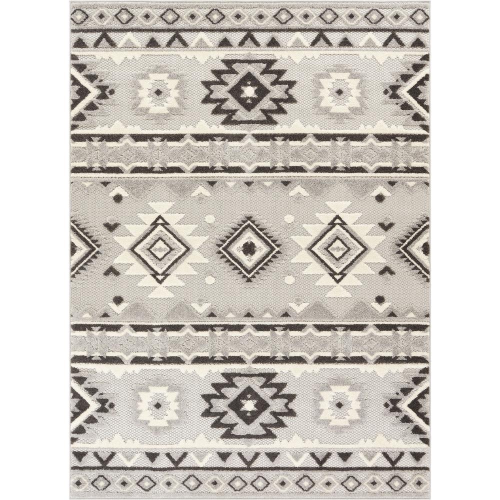 Dorado Mamba 7 ft. 10 in. x 9 ft. 10 in. Modern Navajo Southwestern Grey High-Low Indoor/Outdoor Area Rug