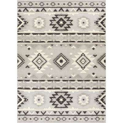 Dorado Mamba 7 ft. 10 in. x 9 ft. 10 in. Modern Navajo Southwestern Grey High-Low Indoor/Outdoor Area Rug