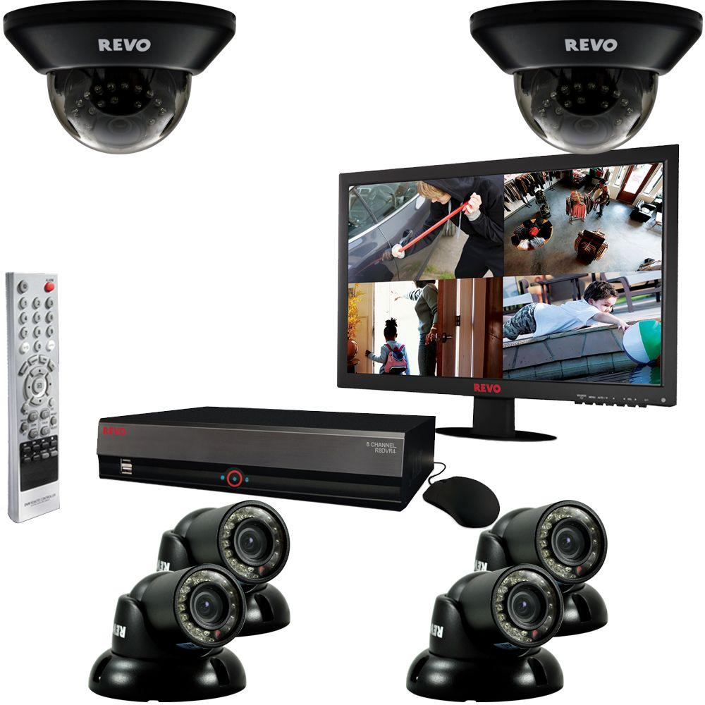 Revo 8-Channel 1TB DVR Surveillance System with (6) 700TVL 100 ft. Night Vision Cameras and 18.5 in. Monitor