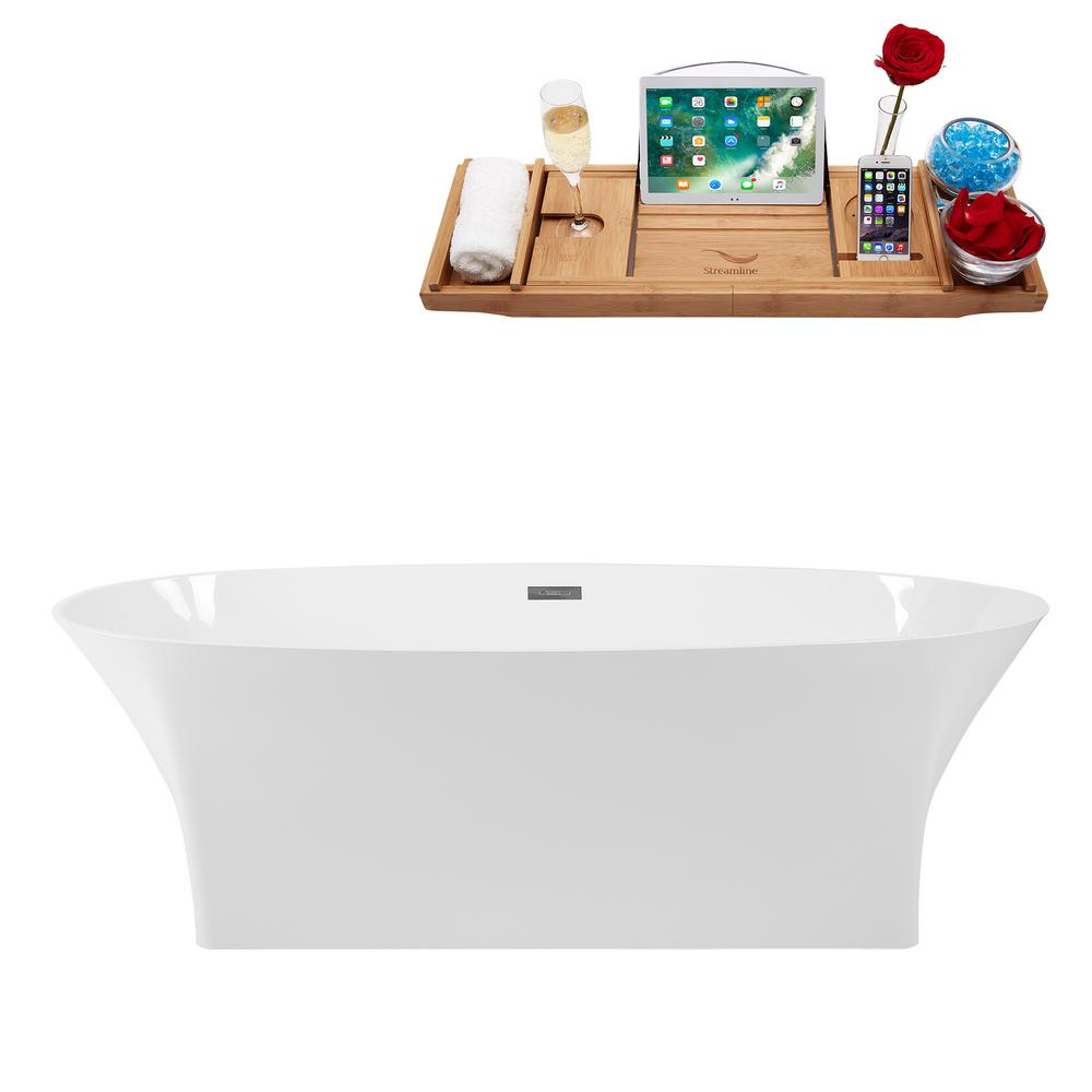 669 In Solid Surface Resin Flatbottom Non Whirlpool Bathtub Glossy White