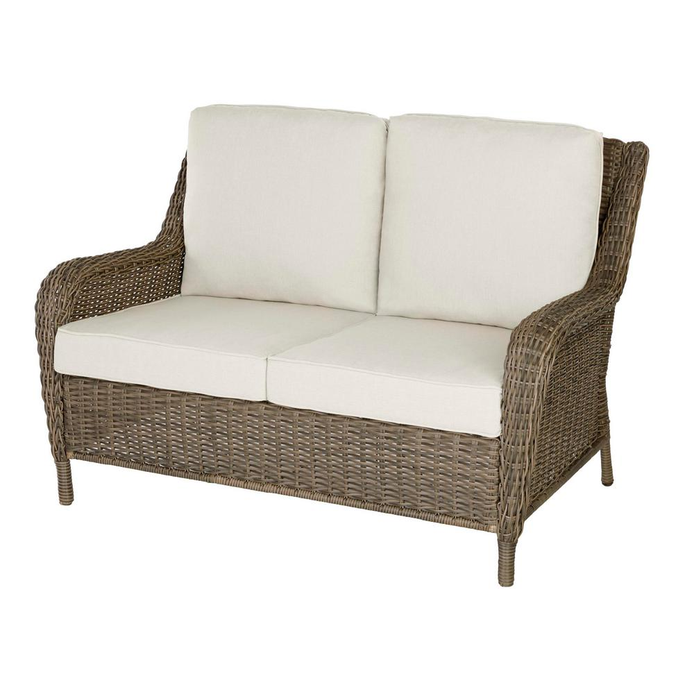 Hampton Bay Cambridge Gray Wicker Outdoor Patio Loveseat with Bare Cushions