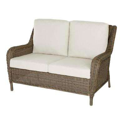 Cambridge Grey Wicker Outdoor Loveseat with Cushions Included, Choose Your Own Color