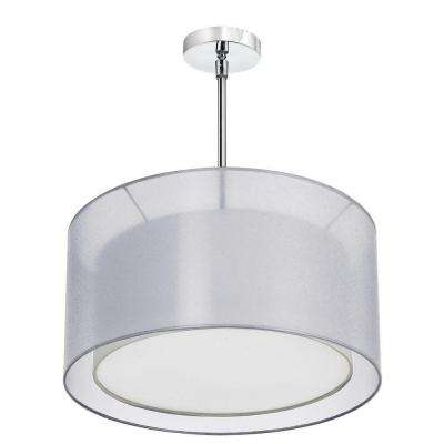 Catherine 3 Light Incandescent Satin Chrome Chandelier with Silver Organza Shades
