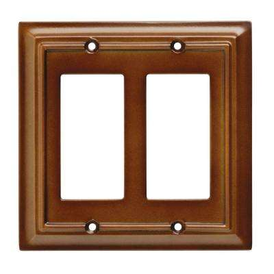 Architectural Wood Decorative Double Rocker Switch Plate, Saddle