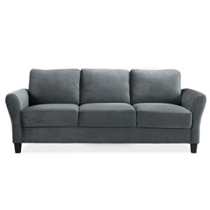 Lifestyle Solutions Wesley 31.5 in. Dark Grey Microfiber 4-Seater Sofa Deals