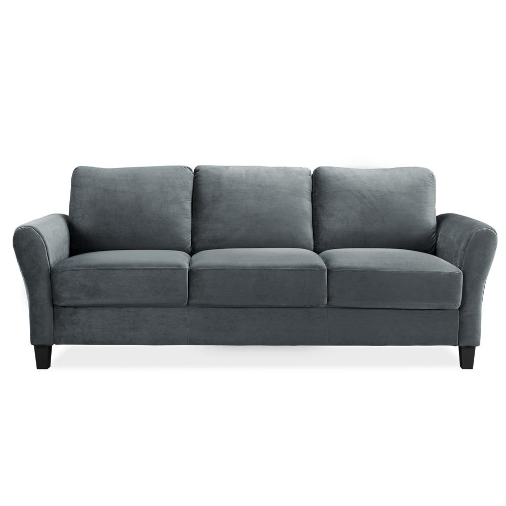 Lifestyle Solutions Wesley Microfiber Sofa With Rolled Arms In Dark Grey