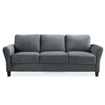 Wesley Microfiber Sofa with Rolled Arms in Dark Grey