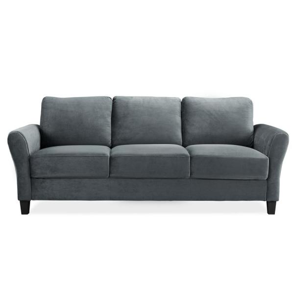 Wesley Microfiber Sofa With Rolled Arms