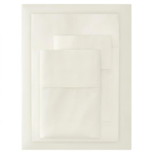 300 Thread Count Wrinkle Resistant American Cotton Sateen 4-Piece Queen Sheet Set in Ivory