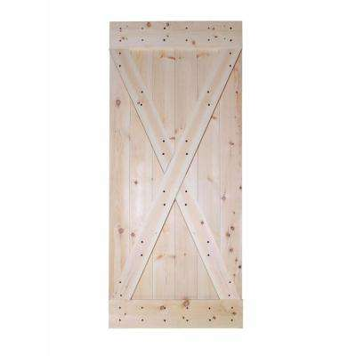 36 in. x 84 in. X-Panel Unfinished Solid Core Knotty Pine Sliding Barn Door Slab