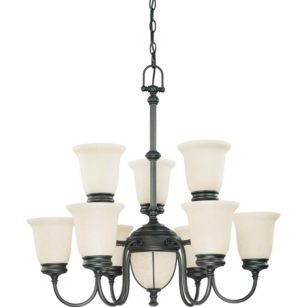 Glomar Salem Aged Bronze 5 + 2 Light 2 Tier Chandelier With Biscotti Glass-DISCONTINUED