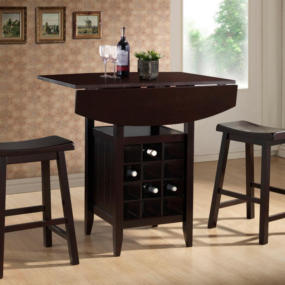 kitchen table with wine storage baxton studio 3 brown pub set 28862 8647