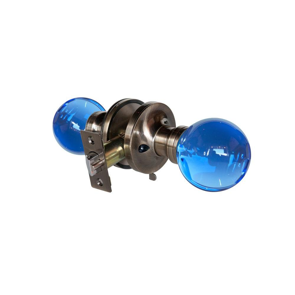 Krystal Touch of NY Sapphire Crystal Antique Brass Privacy Door Knob with LED Mixing Lighting Touch Activated
