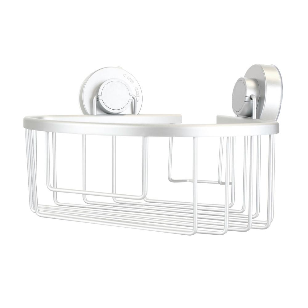 HOME basics Corner Bath Caddy with Power Grip Suction Cups in Silver ...