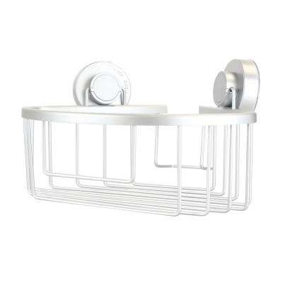 Corner Bath Caddy with Power Grip Suction Cups in Silver