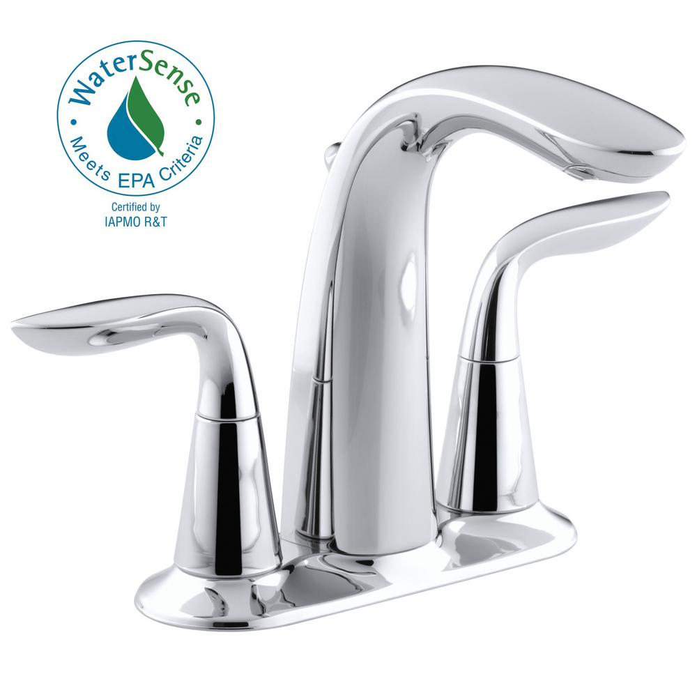 Refinia 4 in. Centerset 2-Handle Water-Saving Bathroom Faucet in Polished Chrome