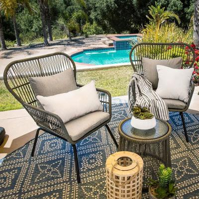3-Piece 2-Chairs Outdoor Wicker Bistro Set with Gray Cushion and Table