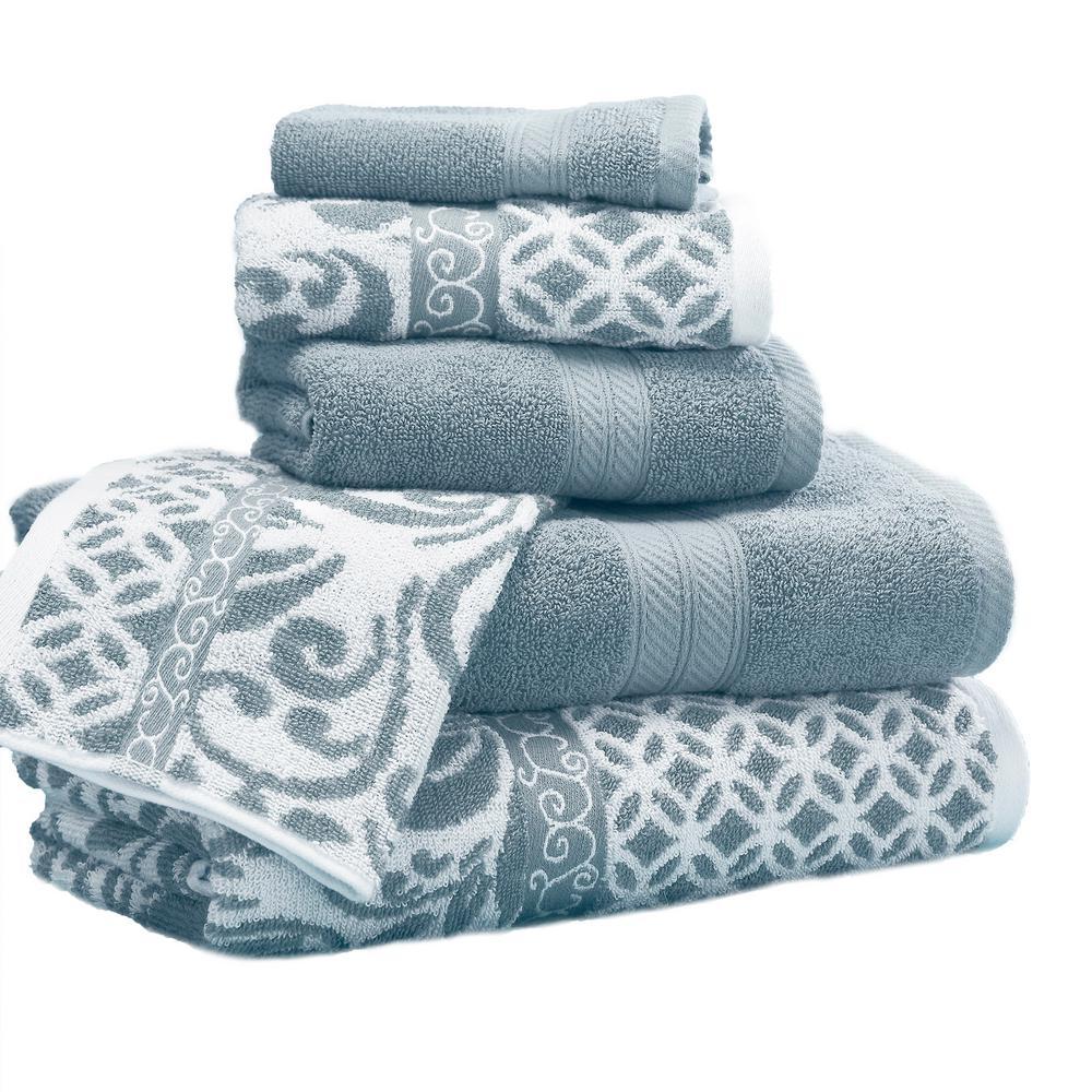 Trefoil Filigree 6-Piece Cotton Bath Towel Set in Sterling Blue