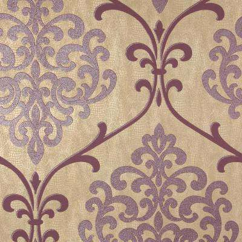 8 in. x 10 in. Ambrosia Mauve Glitter Damask Wallpaper Sample